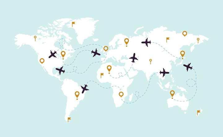 空白的世界地图和上面飞行的飞机轨迹旅游图片免抠矢量素材