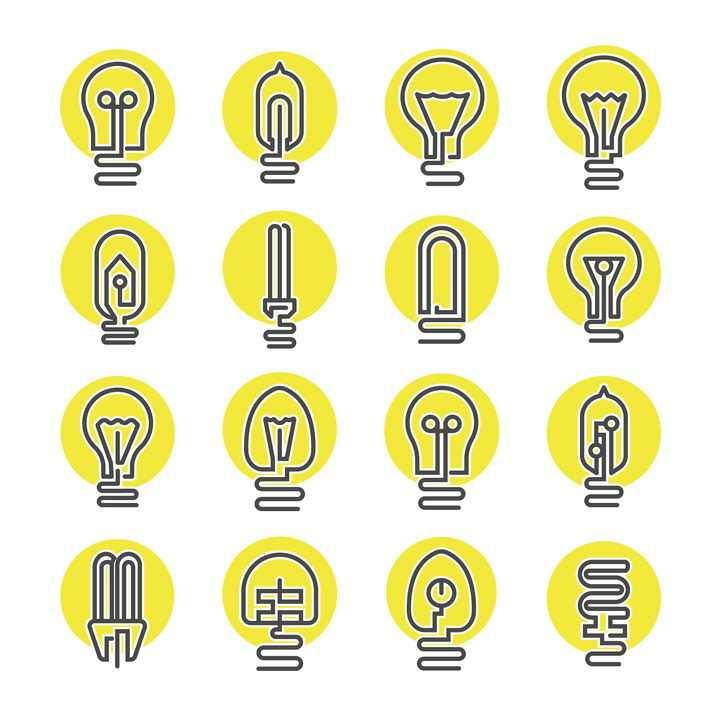 16款圆底线条电灯泡图标图片免抠矢量素材