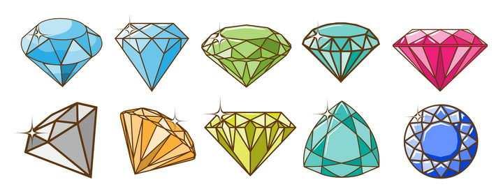10款各种形状的手绘水晶钻石图片免抠矢量图素材