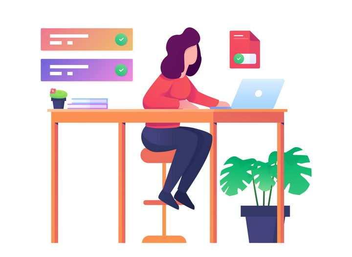 扁平插画风格正在电脑上办公的女孩图片免抠矢量图素材