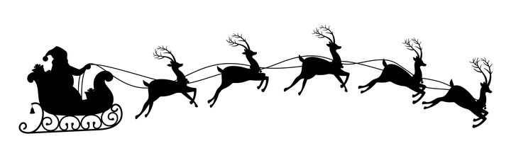 圣诞老人驾驶着驯鹿拉着的圣诞车剪影圣诞节图片免抠矢量素材