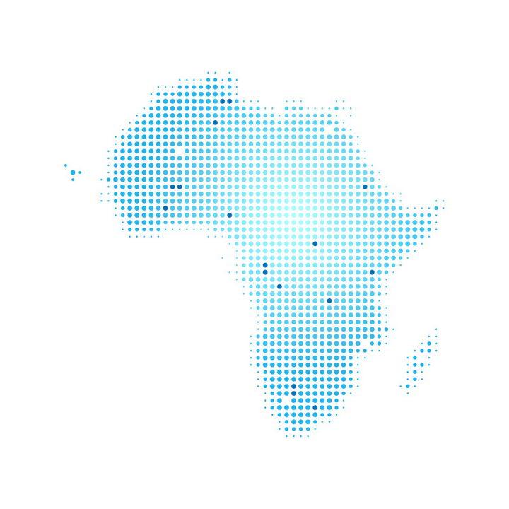 蓝色圆点组成的非洲大陆地图图片免抠矢量素材