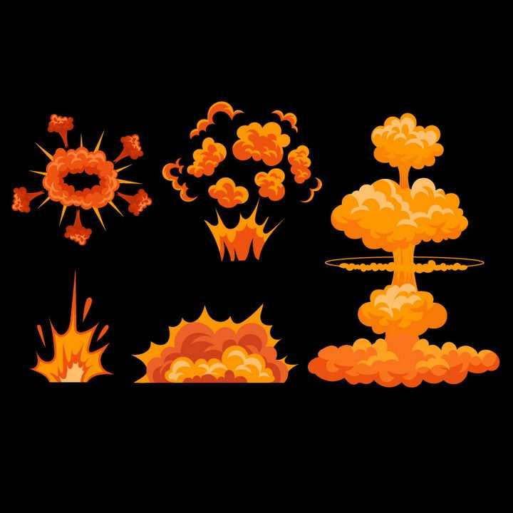 各种橙色红色的漫画爆炸效果和蘑菇云图片免抠素材