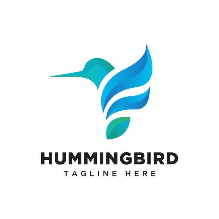 创意抽象蓝色蜂鸟logo设计方案免抠矢量图素材