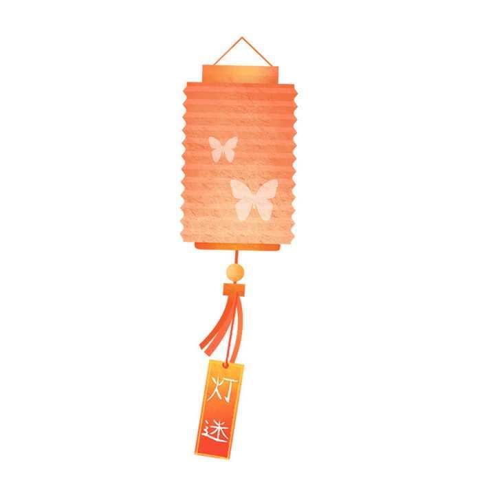 折叠圆筒形的大红灯笼猜灯谜图片免抠png素材