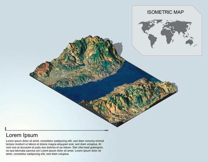 地理地质海峡地形地貌PS 3D模型图片样机模板