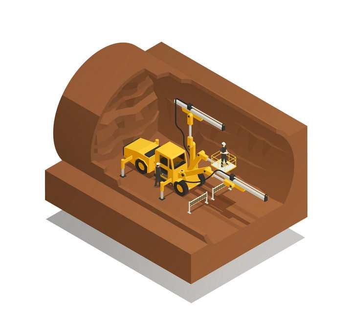 2.5D风格海底隧道挖掘建设剖面图图片免抠矢量素材