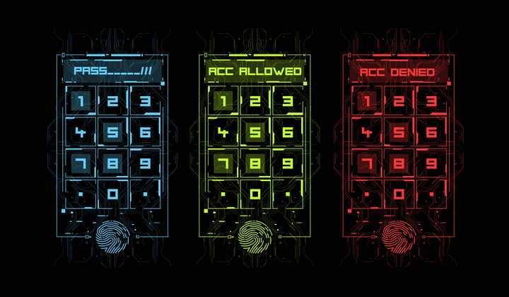 蓝色黄色和红色科幻风格指纹识别指纹解锁密码输入界面图片免抠矢量素材