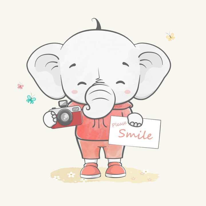 手绘正在拍照的卡通大象图片免抠矢量素材
