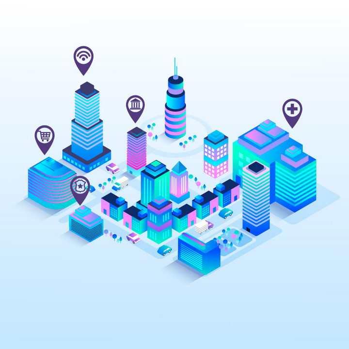 荧光效果2.5D风格蓝色智能城市建筑图片免抠矢量图素材