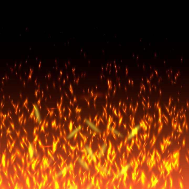 燃烧的火焰和飞舞的火花火星效果图片免抠矢量图素材