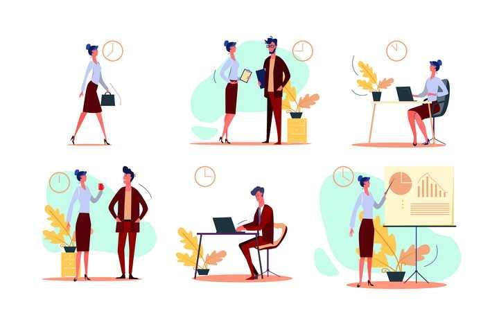 6款扁平插画风格讲究时间效率的商务人士图片免抠矢量素材