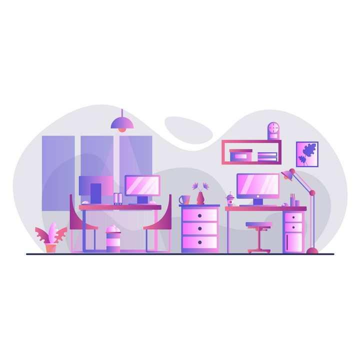 扁平插画风格办公室电脑办公区图片免抠矢量素材