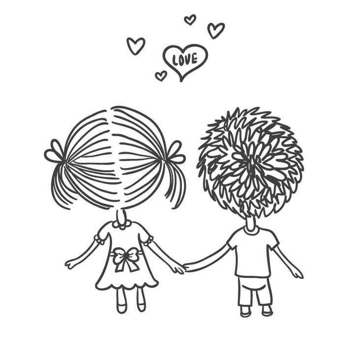 手绘线条卡通小人手牵手的情侣图片免抠矢量素材