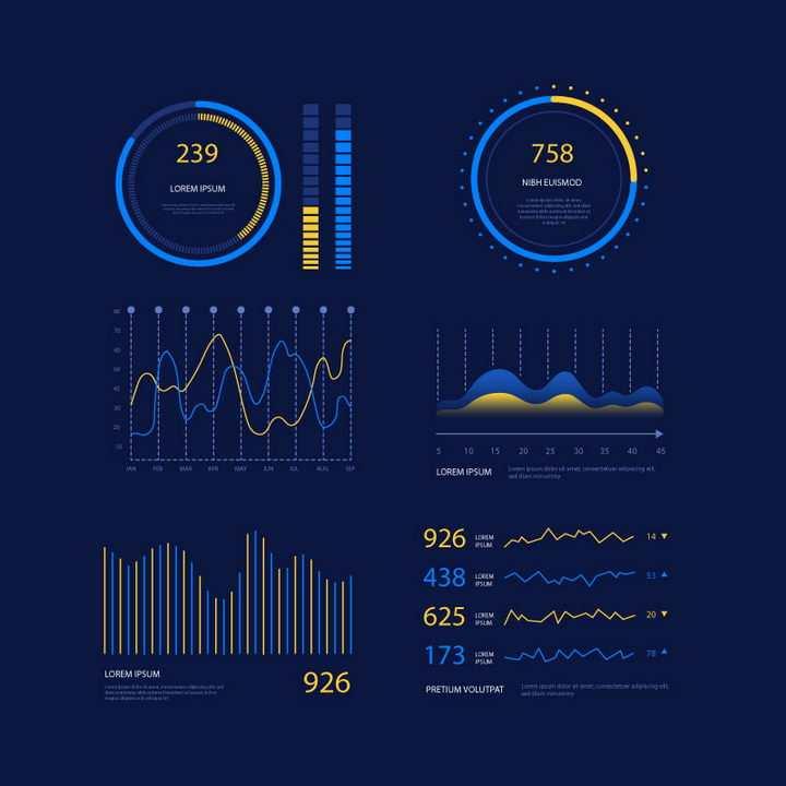 蓝色和黄色科技风格PPT数据显示图片免抠矢量素材