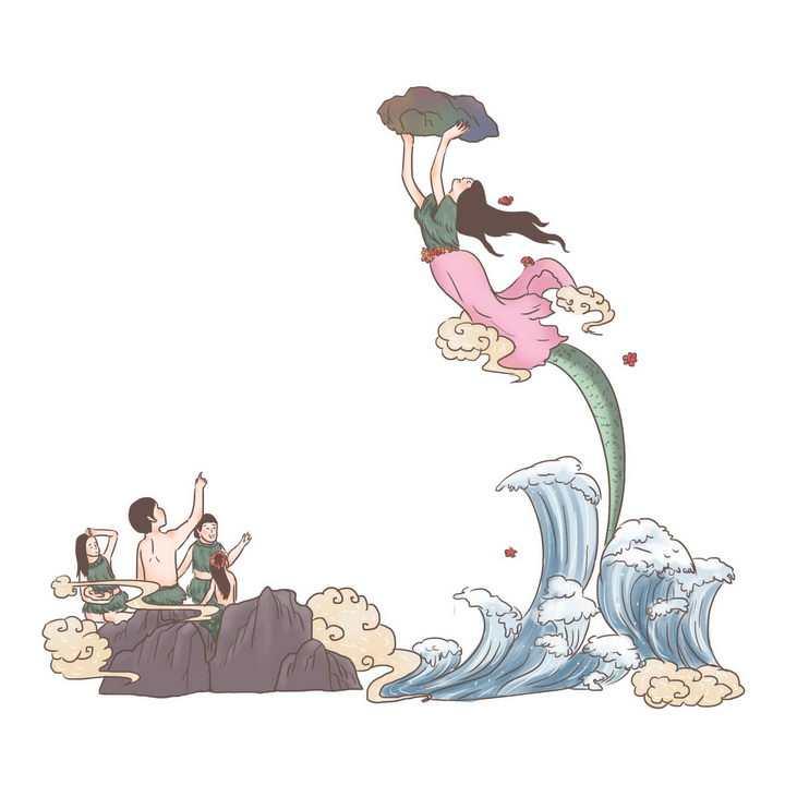 女娲补天中国传统神话人物传说故事手绘彩色插图图片免抠png素材