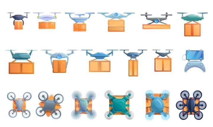 18款快递送货无人机创新科技图片免抠矢量素材