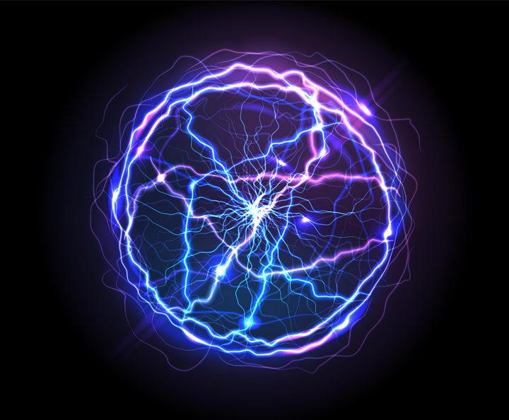 闪亮的蓝色紫色球形闪电球状闪电图片png免抠素材
