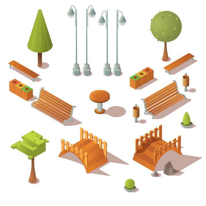 2.5D风格各种各样的路灯树木长椅木桥等卡通公园设施图片免抠矢量图素材