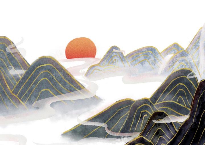 带有金丝装饰的黑色水墨画风格群山落日风景图图片免抠png素材 插画-第1张