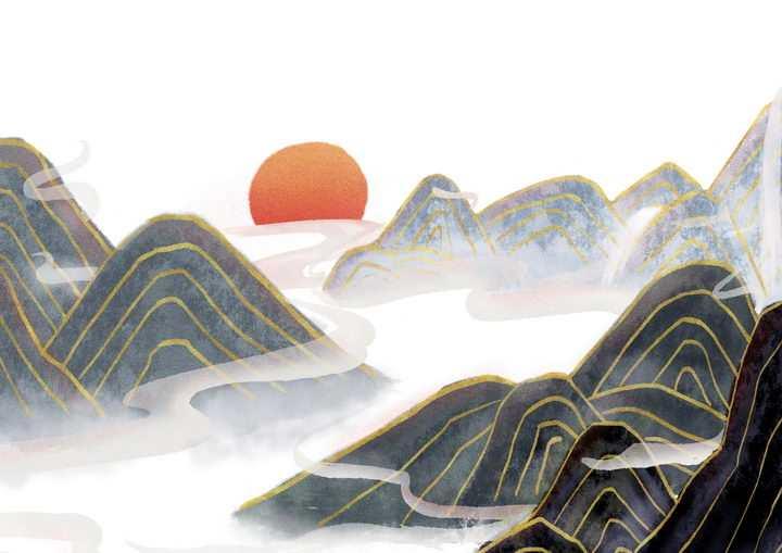 带有金丝装饰的黑色水墨画风格群山落日风景图图片免抠png素材