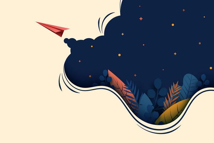 抽象风格飞行的纸飞机和夜空的帷幕图片免抠矢量素材