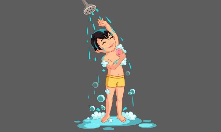 正在洗澡淋浴的卡通小男孩图片免抠矢量素材