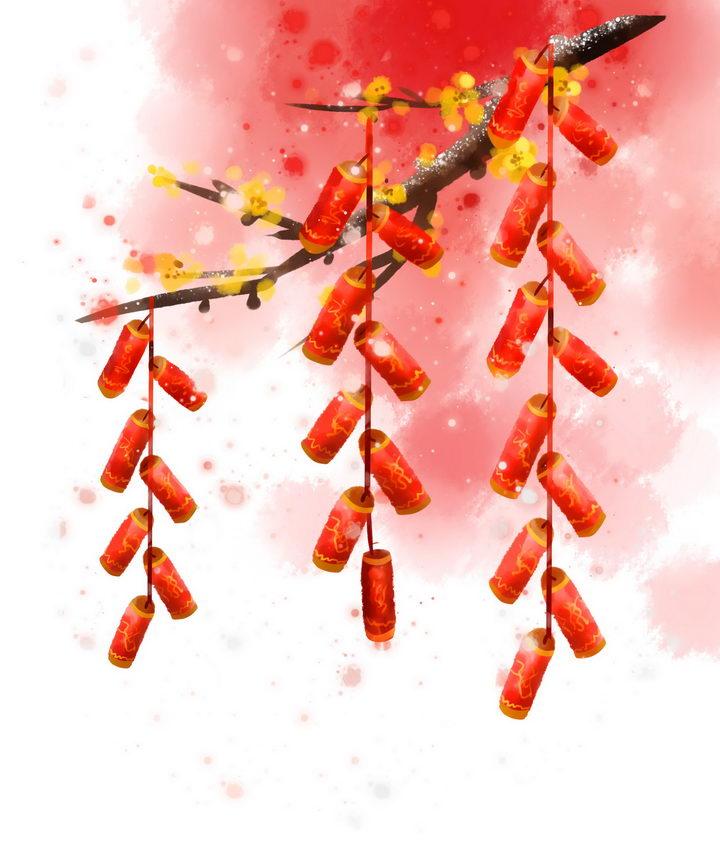 挂在树枝上的三串鞭炮图片免抠png素材 节日素材-第1张