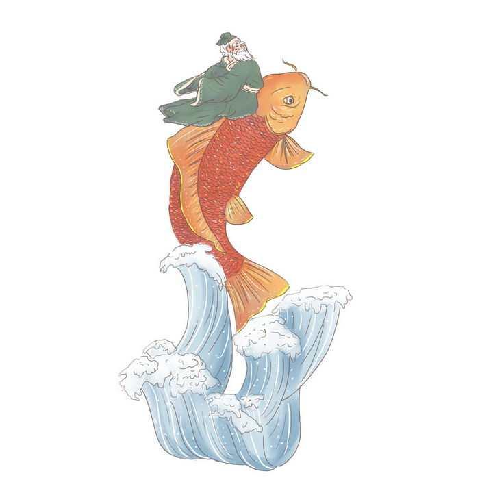 琴高控鲤升天中国传统神话人物传说故事手绘彩色插图图片免抠png素材