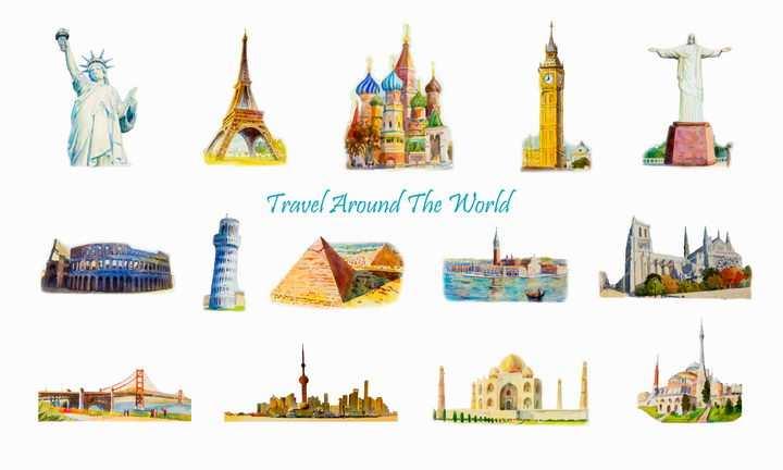 水彩画风格自由女神像埃菲尔铁塔古罗马斗兽场金字塔等世界知名旅游景点图片免抠矢量素材