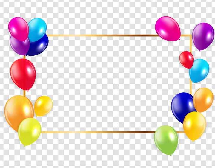 彩色气球装饰的金色边框文本框图片免抠素材