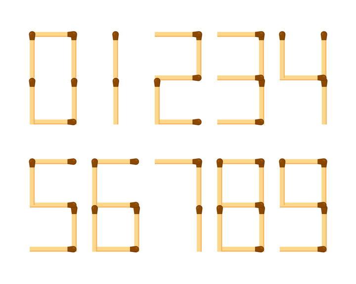 火柴棒组成的数字图片免抠矢量素材