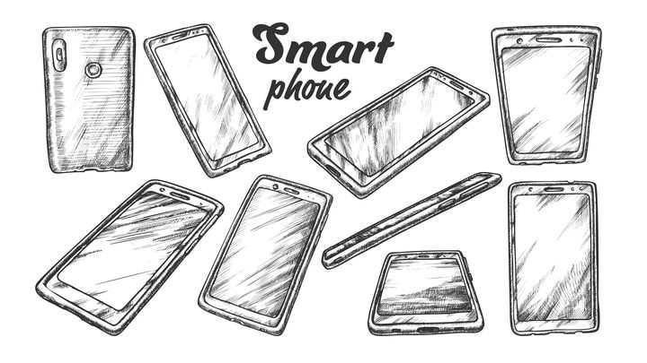 手绘铅笔素描风格各种视角的智能手机图片免抠素材