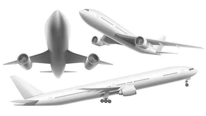 三个视角的银灰色大型客机飞机图片免抠素材