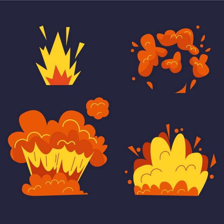 4款简约的卡通漫画风格爆炸效果图片免抠素材