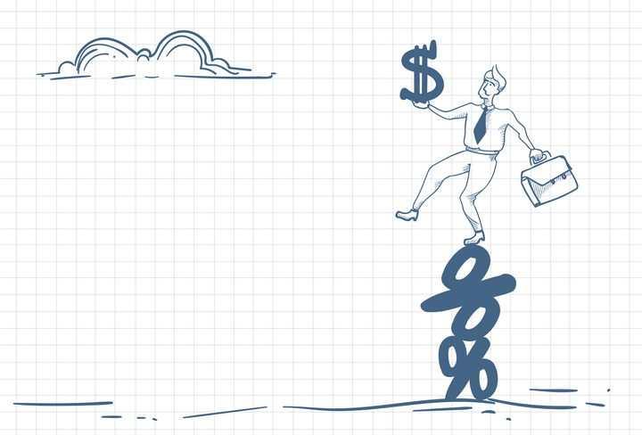 圆珠笔画涂鸦风格踩着增长数据向上攀爬职场人际交往配图图片免抠矢量素材