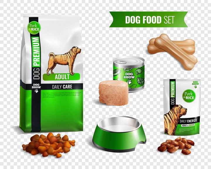 绿色的各种宠物食品狗粮宠物罐头等图片免抠矢量素材