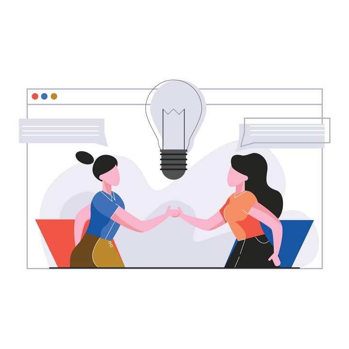 扁平插画风格相互合作的商务女士图片免抠矢量素材