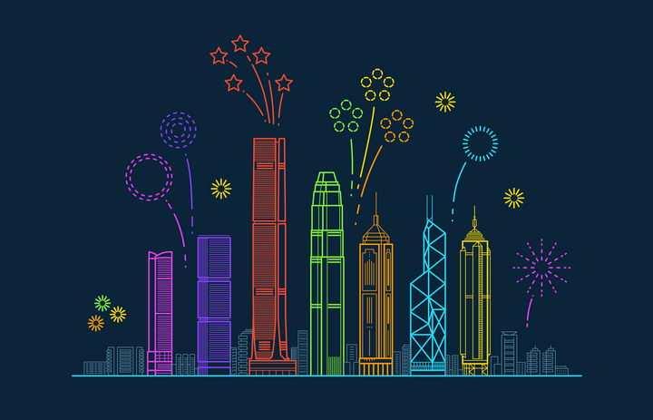 彩色线条风格放着礼花的香港标志城市建筑天际线图片免抠矢量图素材
