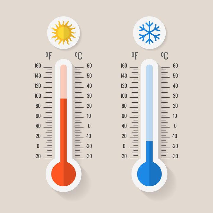 象征高温和低温的2款温度计图片免抠矢量素材 科学地理-第1张