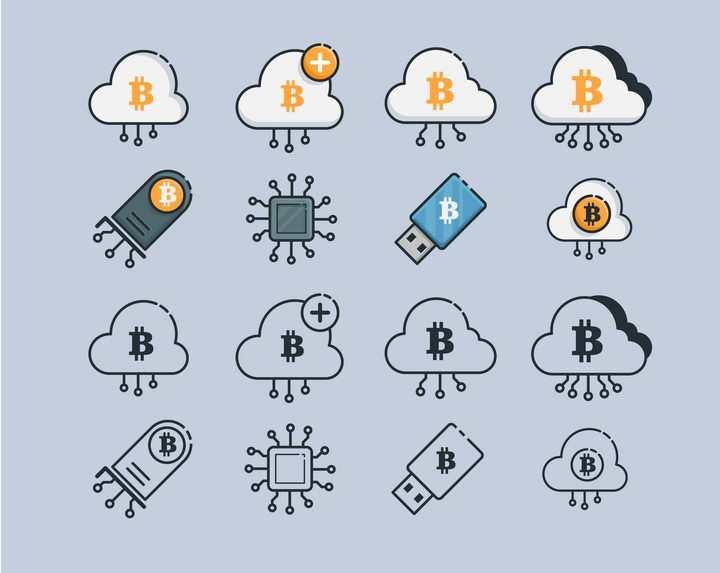 断点风格比特币标志图标图片免抠矢量素材