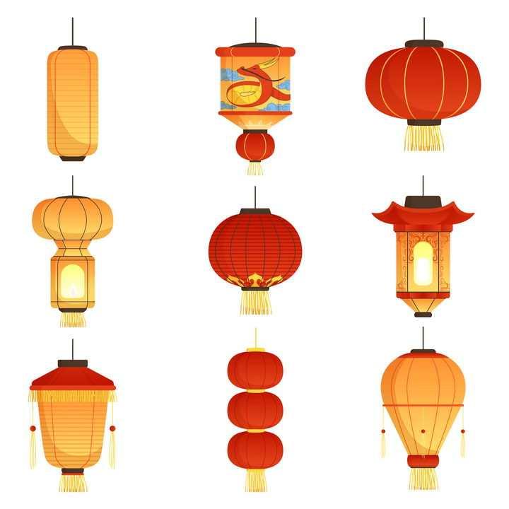 9款各种不同款式的中国传统灯笼图片免抠矢量素材