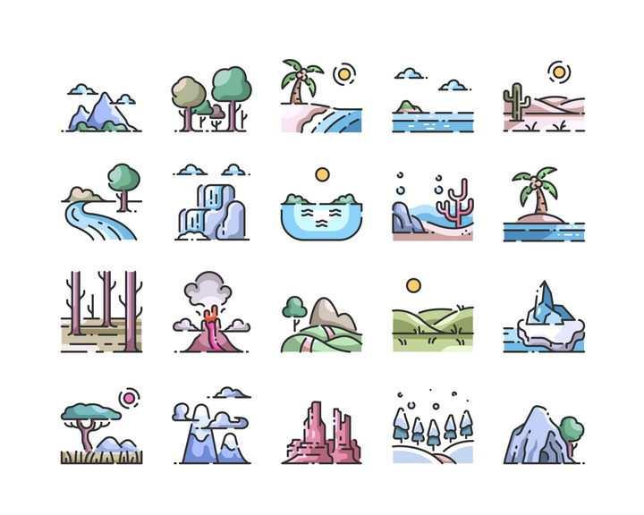 16款MBE风格大山森林海洋沙漠火山等自然风景图片免抠矢量素材
