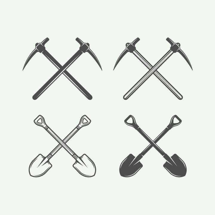 黑色漫画风格交叉的铁锹和铁镐工具图片免抠矢量素材