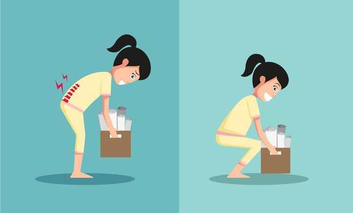 下蹲弯腰搬东西的正确和错误姿势图片免抠素材