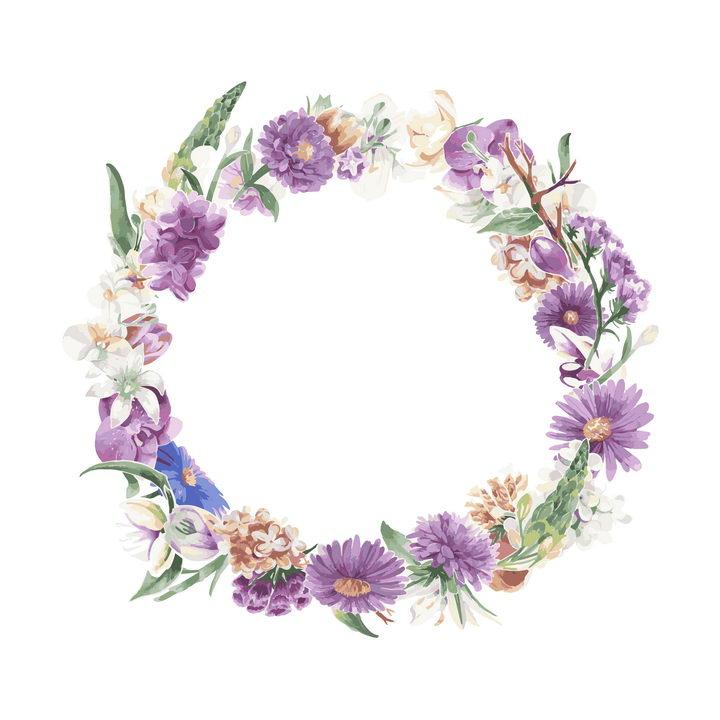 水彩画风格各种紫色白色花朵和叶子组成的花环图片免抠矢量素材 生物自然-第1张
