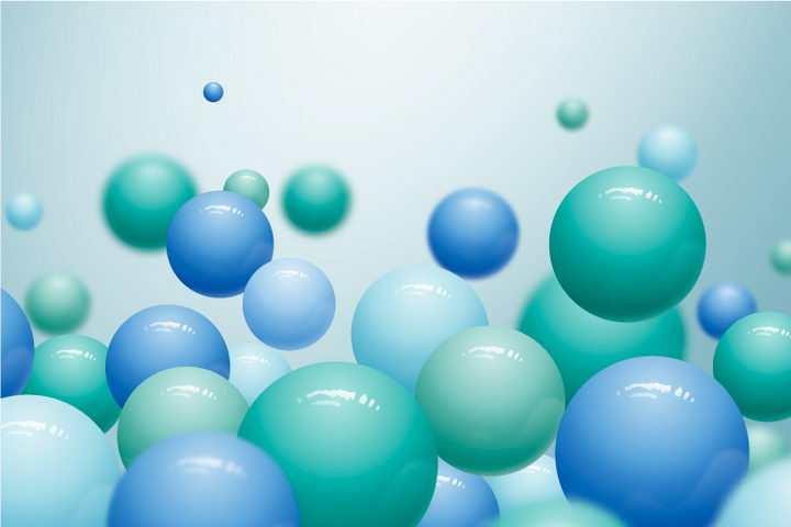 立体风格的蓝色和绿色小球背景图片