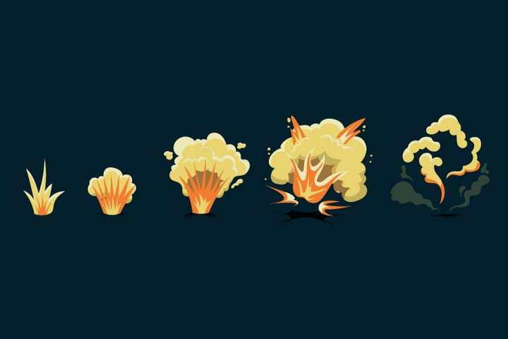 卡通漫画爆炸过程效果图片免抠素材