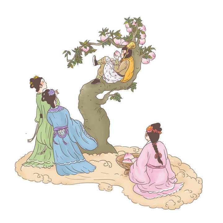 西游记孙悟空蟠桃会中国传统神话人物传说故事手绘彩色插图图片免抠png素材