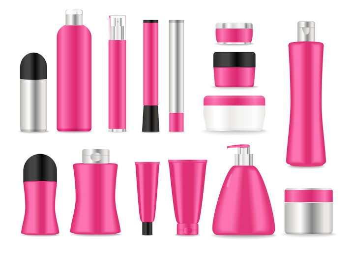 15款各种形状的洗发水洗面奶等玫红色化妆品护肤品瓶子图片免抠矢量素材